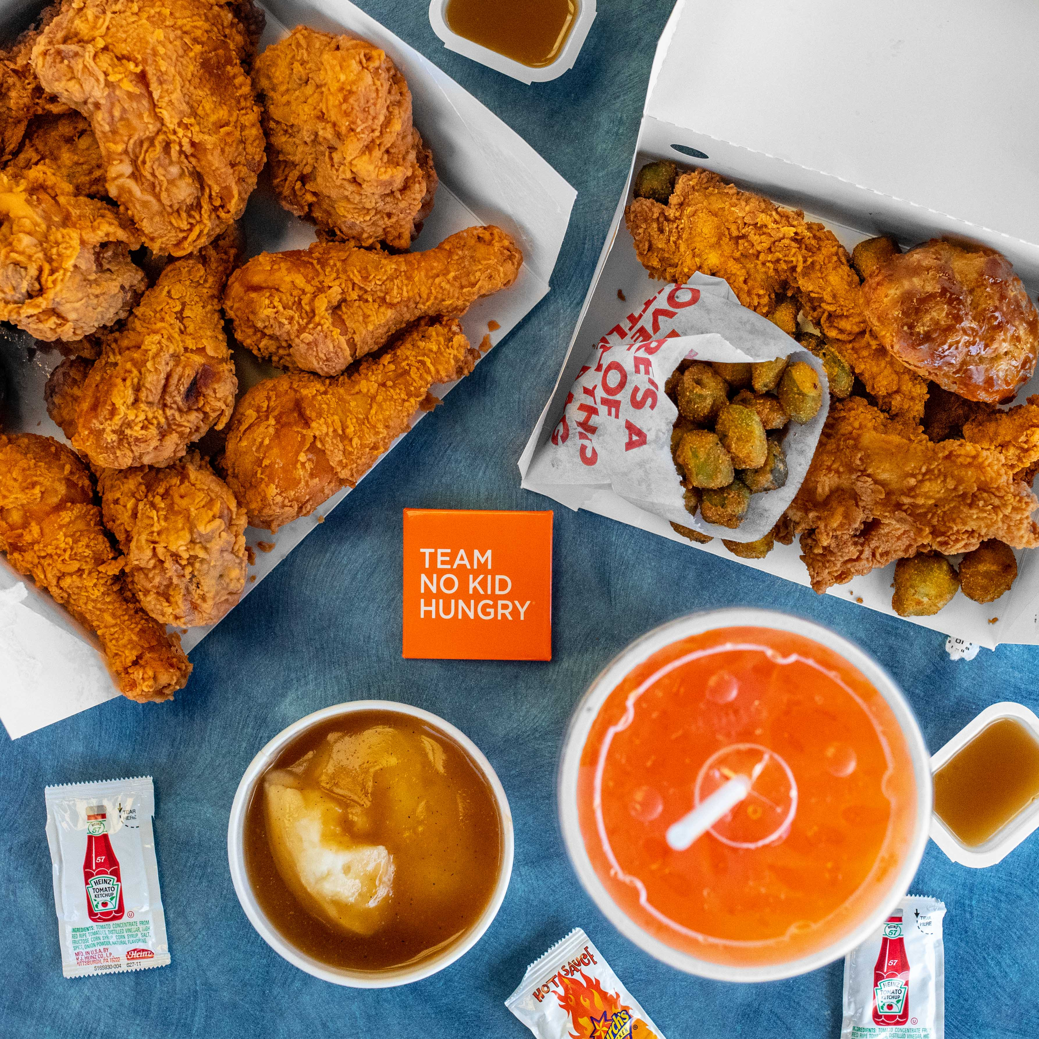 Church's Chicken #NoKidHungry Cup and Food Spread