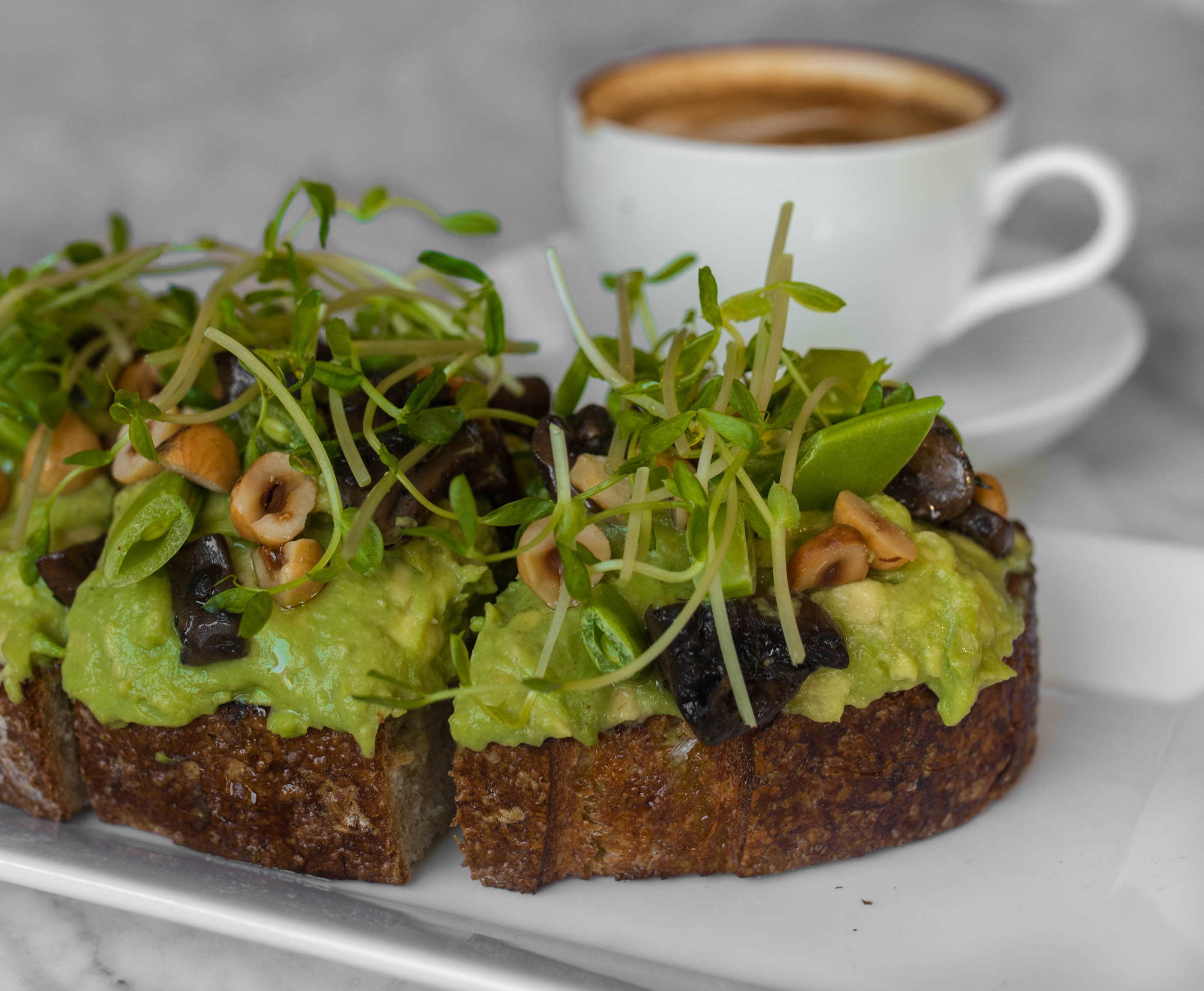 avocado toast with mushrooms