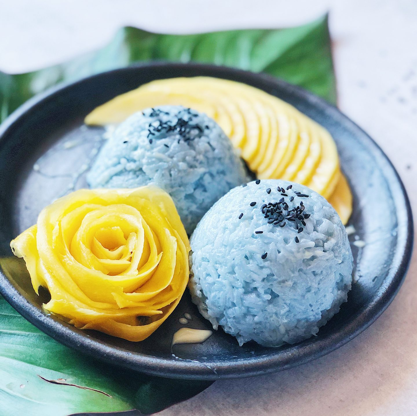 Mango with Sticky Blue Coconut Rice