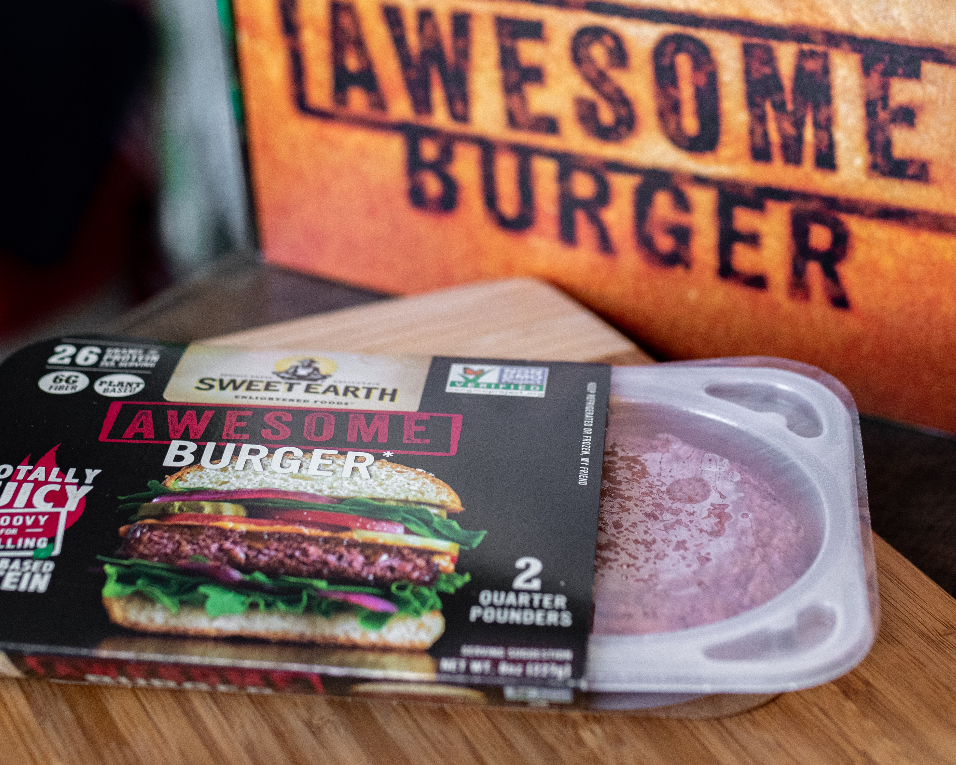 Sweet Earth Awesome Burger packaging