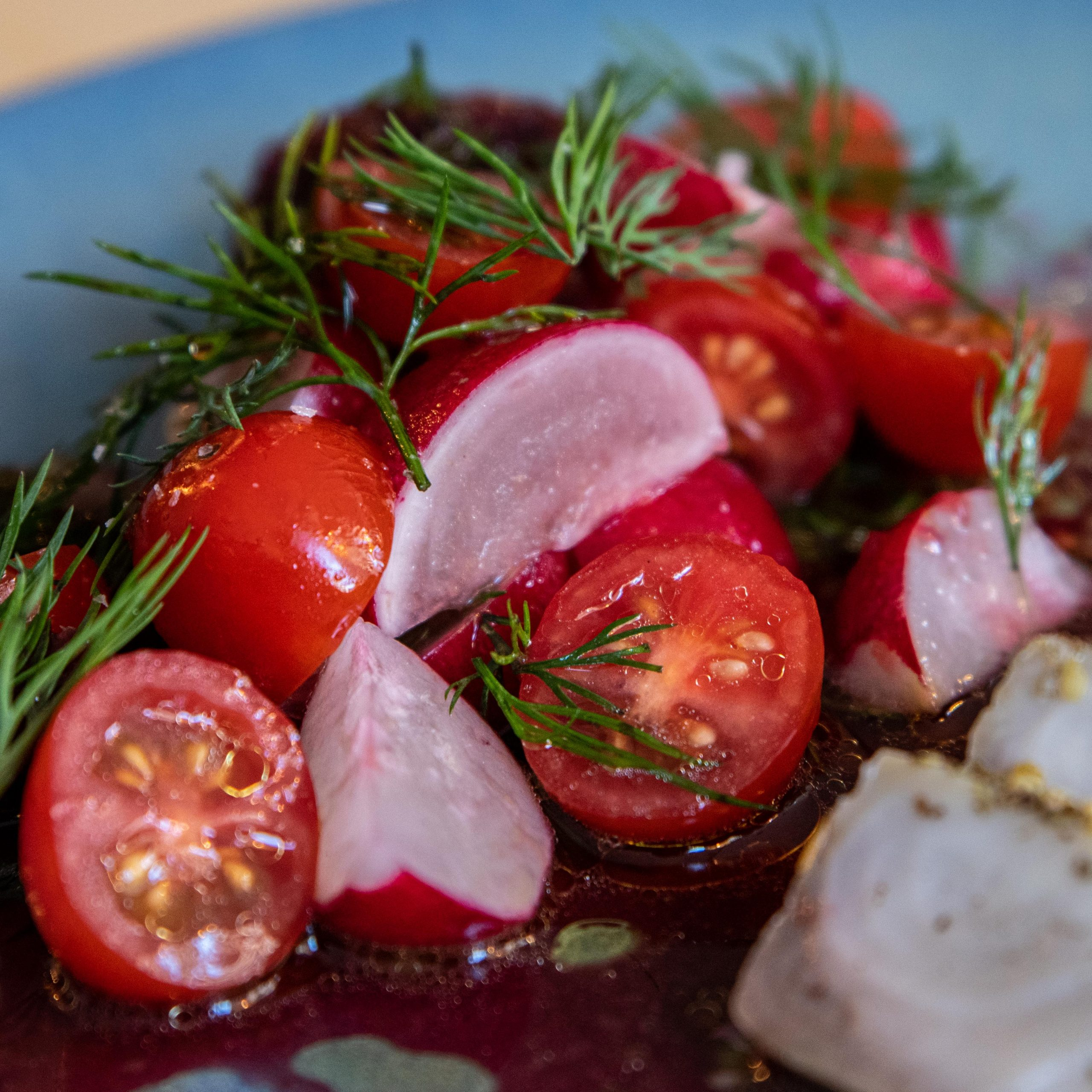 Song Kitchen Rashes and Cherry Tomatos from Smoky pickled bonito