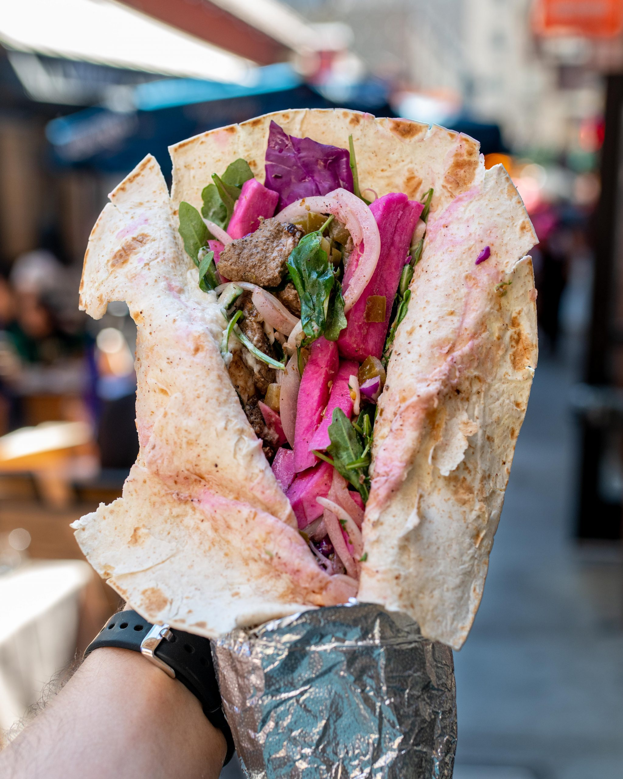 Sajj Mediterranean Wrap Opened up